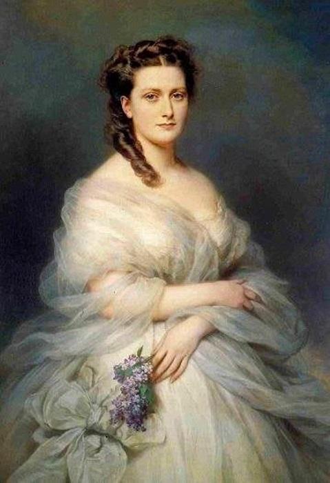 Герцогиня Анна де Мучи (1841-1924), урожденная Принцесса Мурат. (1862 год). Автор: Франц Ксавер Винтерхальтер.