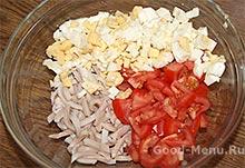Салат с кальмарами помидорами и яйцом