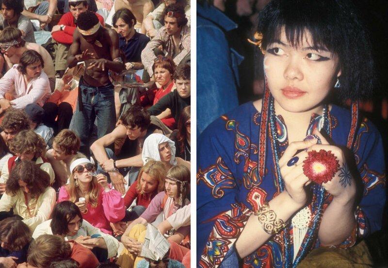 Слева: фанаты ждут начала концерта Rolling Stones в лондонском Гайд-парке, июль 1969 года. Справа: ярко одетая женщина с живыми цветами и боди-артом. интересное/. фотографии, история, хиппи
