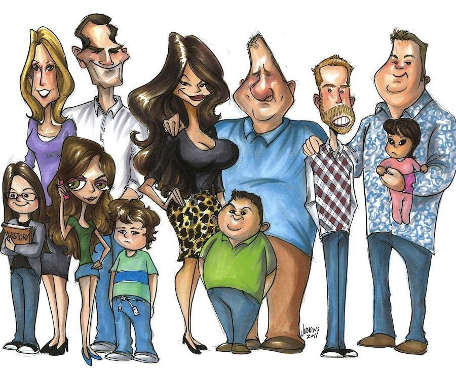 Рисунки смешной семьи, открытки деловым