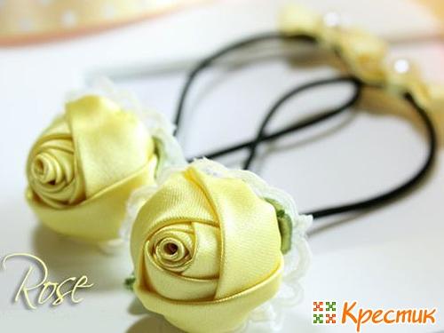 Аксессуары из цветов из атласных лент