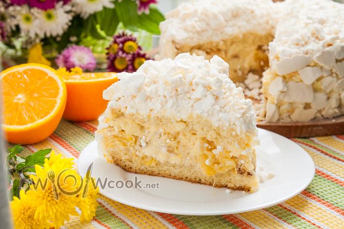 как приготовить вкусный торт с апельсином, нежнейшим кремом и безе