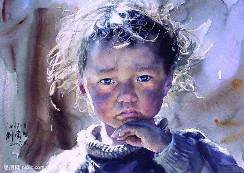 Лица Тибета в реалистичных акварелях Лю Йуньшена