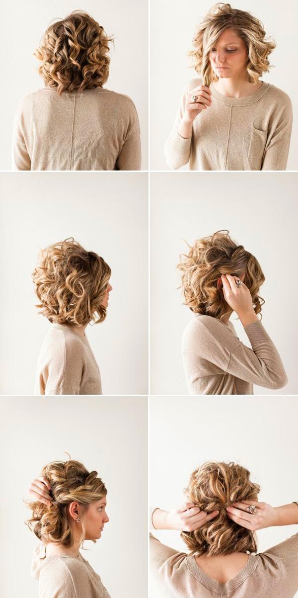 Прическа своими руками на средние кудрявые волосы