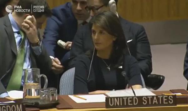 Нервная реакция Никки Хейли, на слова российского дипломата
