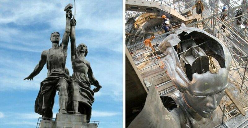 """Монумент """"Рабочий и колхозница"""" знают все. А что у него внутри? Рабочий и колхозница, внутри, интересно, монумент, статуя"""