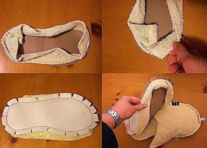 Оказывается, вот как просто можно сшить мягкие тапочки...