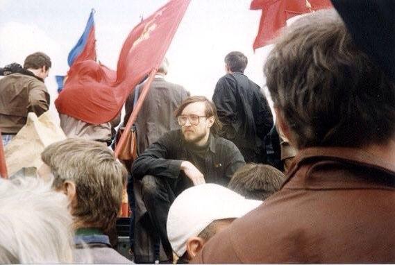 Егор Летов на первомайском митинге. Москва, 1994.