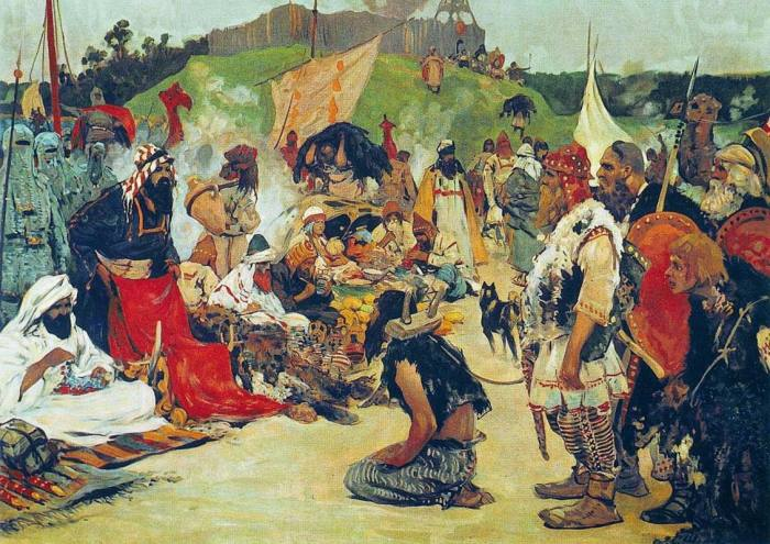 Славян считали очень смекалистыми и хитрыми не только в военных, но и в торговых делах. Худ. С.Иванов