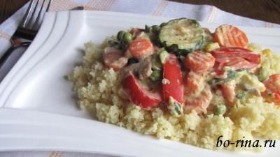 Тушёные овощи в сметанном соусе