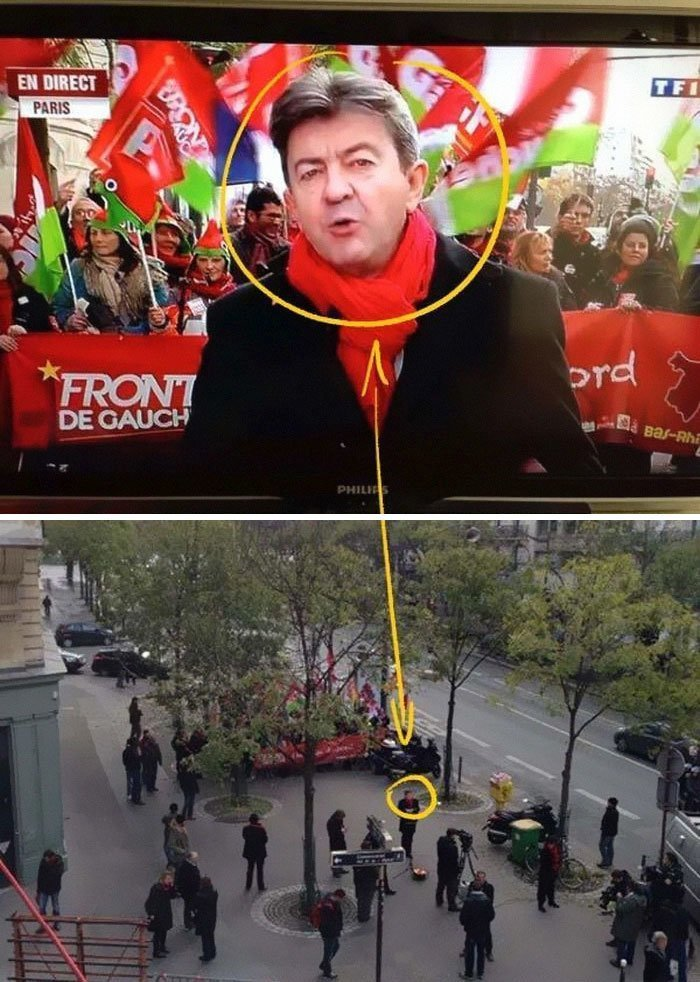 Демонстрация против повышения налогов в Париже... media, все дело в фокусе, манипулирование, новости наша профессия, познавательно, с какой стороны посмотреть, сми, фотографии