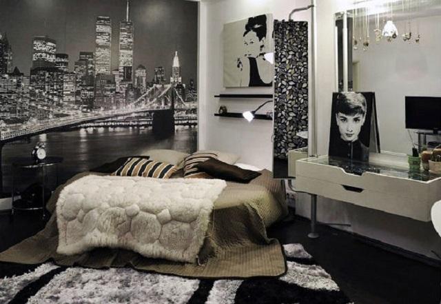 черно-белые фотообои в интерьере