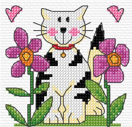 """Схема вышивки """"Кошка в цветах"""""""