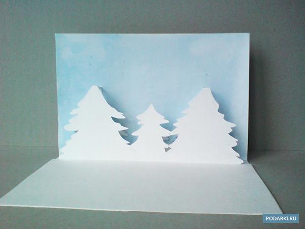 Поп-ап открытка «Заснеженный лес»
