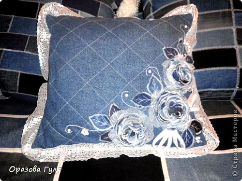 Джинсовая роза на подушку