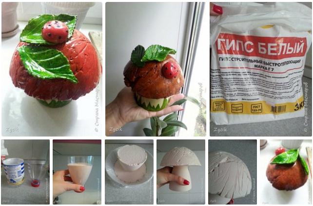 Сделать грибы из гипса для дачи: мастер-класс