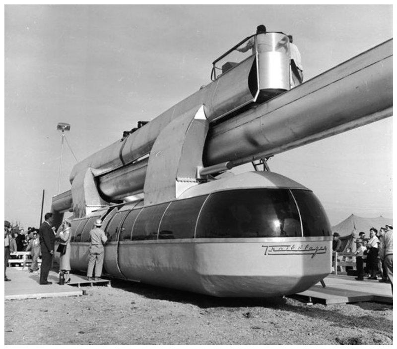 Ретрофутуристический монорельс, 1950-е вагоны, железнодорожные, изобретения, поезда, рельсы, факты, фантазии