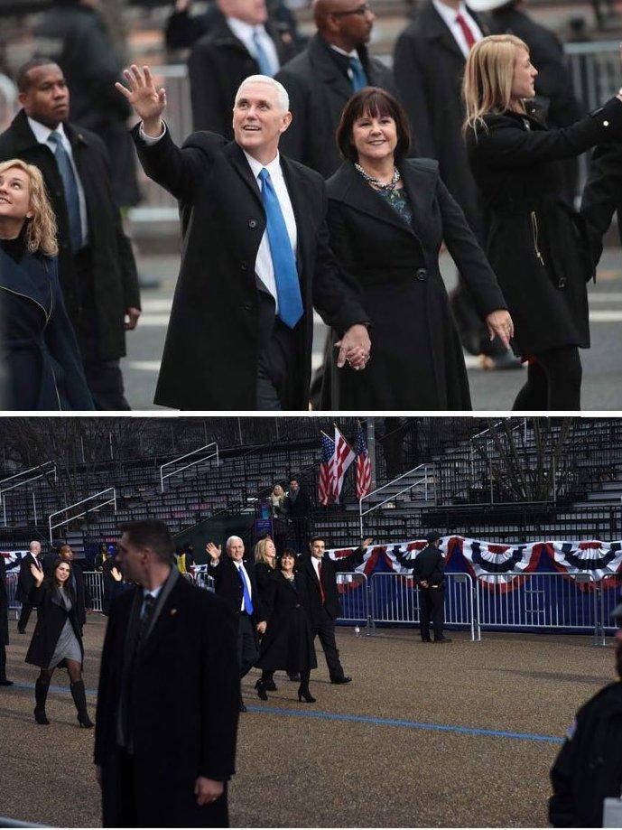 Инауграция Дональда Трампа. Вице-президент Майкл Пенс приветствует толпу media, все дело в фокусе, манипулирование, новости наша профессия, познавательно, с какой стороны посмотреть, сми, фотографии