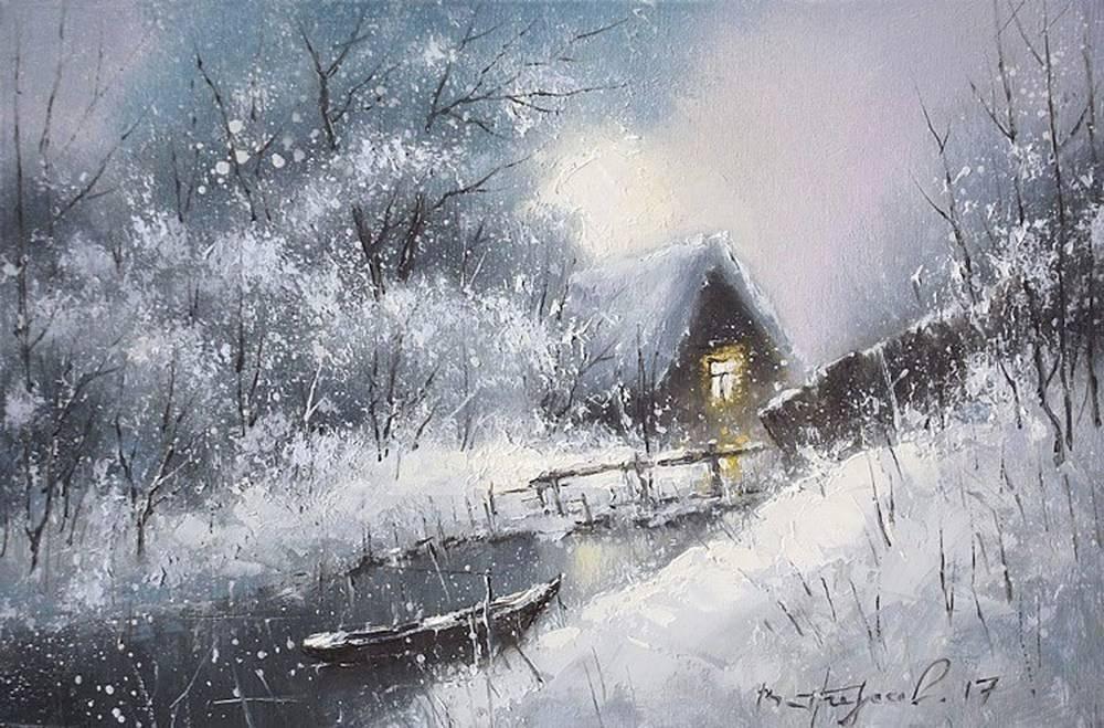 Замечательные зимние пейзажи Виктора Гредасова Зимний, свежесть, окномВ, царстве, морозном, блистательноснежномНет, ароматов, весны, безмятежнойСлавится, даром, особым, зимаДивная, небом, колдует, данаОбворожительна, зимняя, сказкаЕй, нужны, звонкого, краскиЛирика