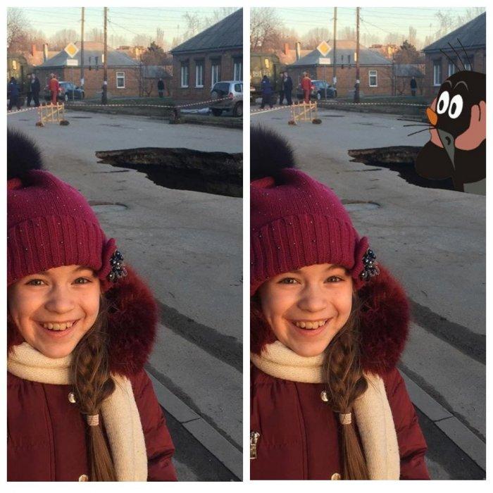 Школьница у гигантской ямы в Таганроге стала героиней фотожаб