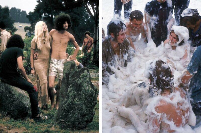 Слева: Вудсток, 1969 год. Справа: люди, покрытые пеной, веселятся на фестивале Isle of Wight. интересное/. фотографии, история, хиппи