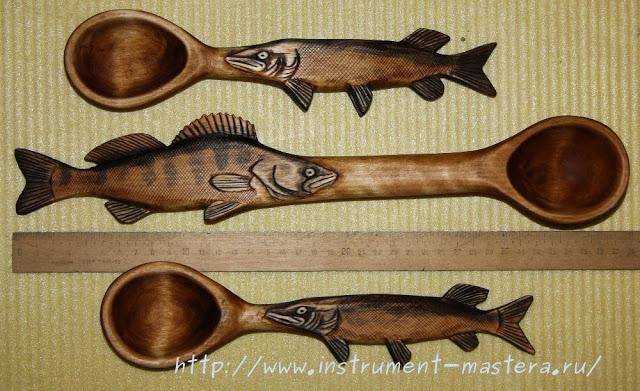 Деревянные резные ложки в подарок рыбаку