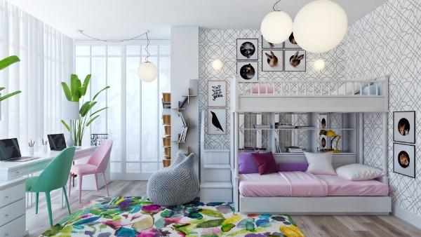 ковёр с ярким дизайном на полу в детской для двух девочек