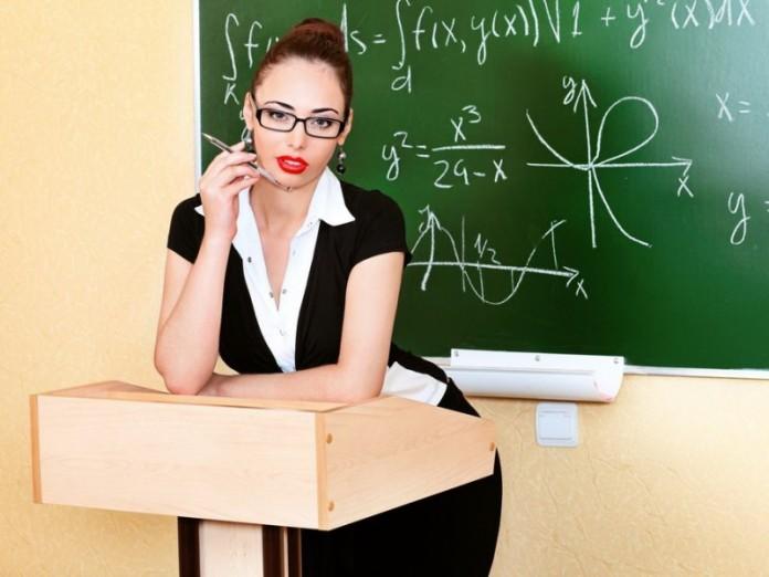 Учительница покраснела, услы…