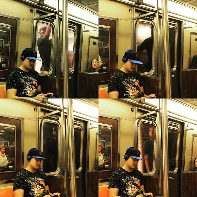 На данный момент неизвестно удалось ли службе безопасности задержать нарушителя видео, зацепер, идиот, метро, нью-йорк, поезд, сша