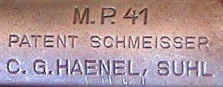 Видимо, Хуго Шмайссер любил, что бы на его разработках стояло клеймо с его фамилией. Клеймо на пистолете-пулемета Шмайссера - МР 41