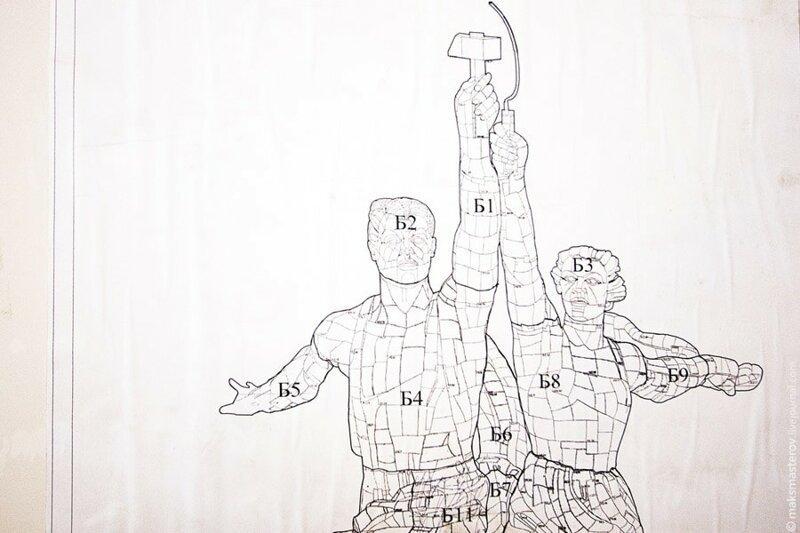 «Рабочего и колхозницу» собирали по чертежам Веры Мухиной и гипсовому макету Рабочий и колхозница, внутри, интересно, монумент, статуя