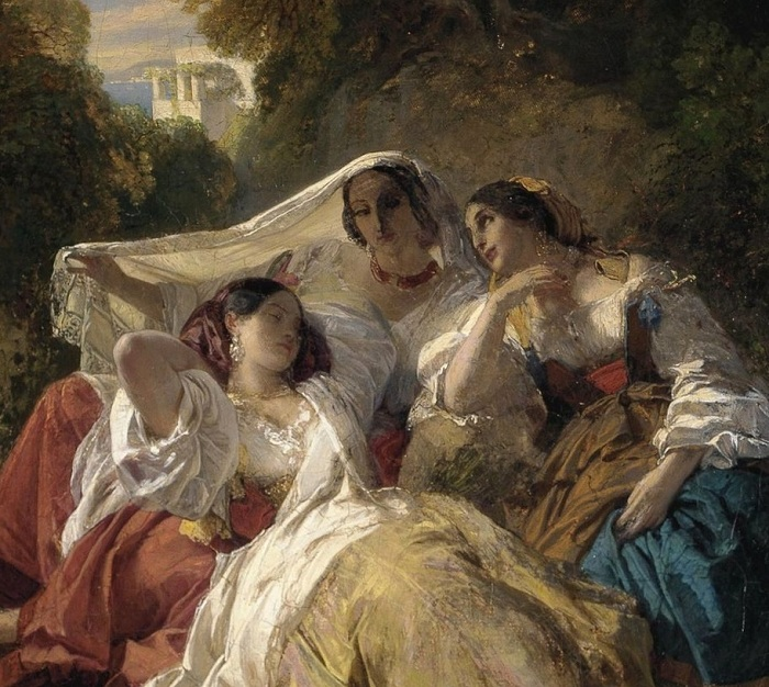 Три девушки в тени деревьев. Автор: Франц Ксавер Винтерхальтер.