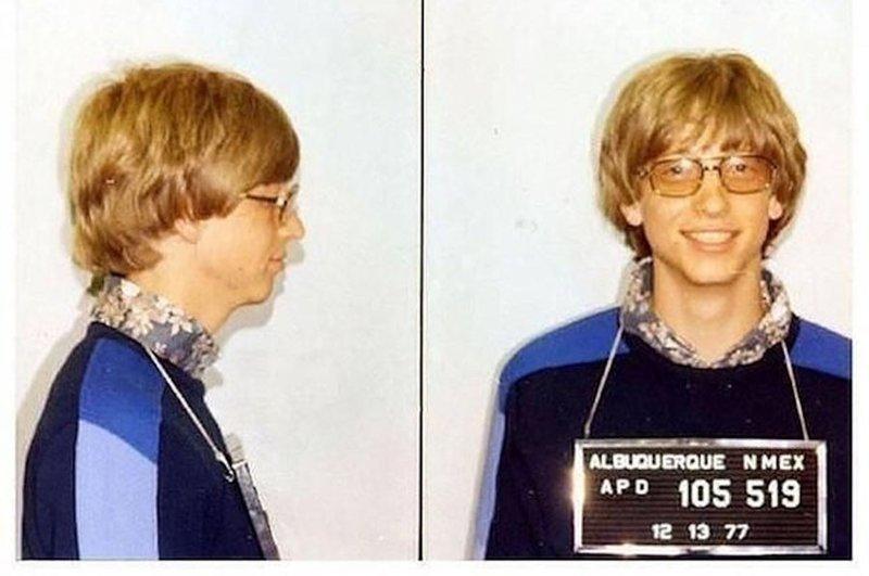 Билл Гейтс. 1977 год. Превышение скорости. арест, звезды, полиция, правонарушение