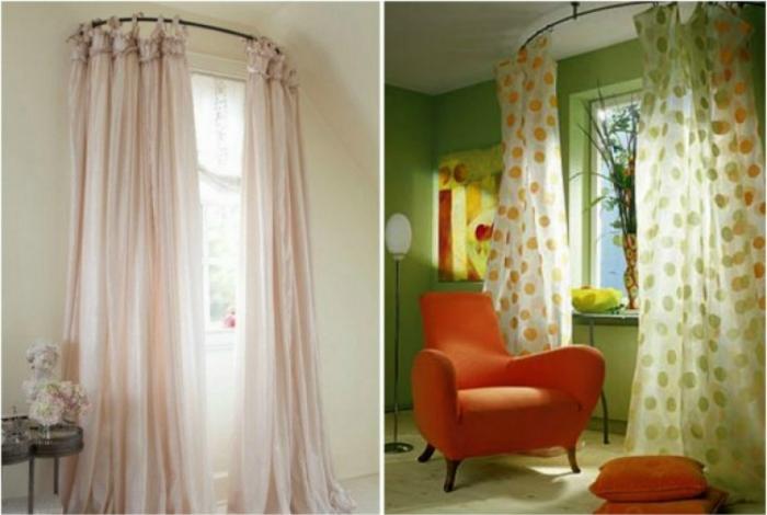 Изогнутые карнизы сделают окна визуально больше.