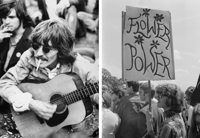 Слева: Джордж Харрисон одолжил гитару у местных хиппи, гуляя по парку «Золотые ворота», Сан-Франциско, 1967 год. Справа: демонстранты выступают за легализацию наркотиков в Гайд-парке, Лондон, 1967 год. интересное/. фотографии, история, хиппи