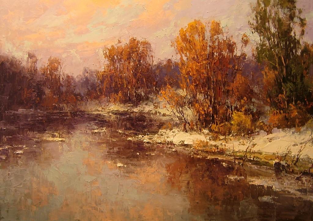 Живописная встреча зимы с осенью от художника Юрия Прядко