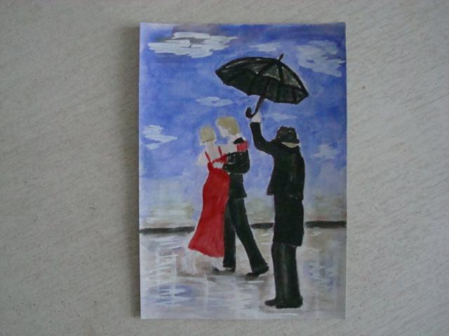 Танцующие под дождём.  акварель.  открытка