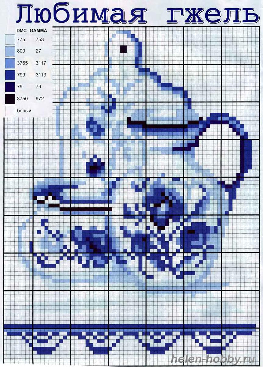 Схема вышивок крестом гжель схемы