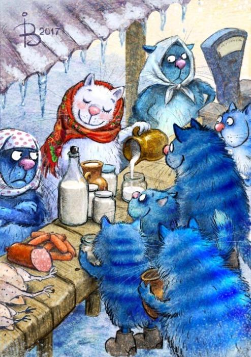 картинка синий кот за столом это