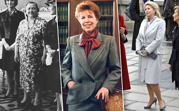 От халата в цветочек до строгих костюмов: как менялся образ первой леди в России