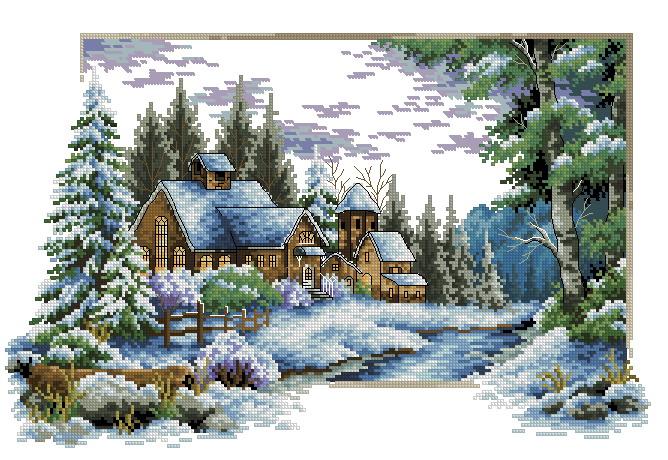 Очень понравился этот домик в снегу