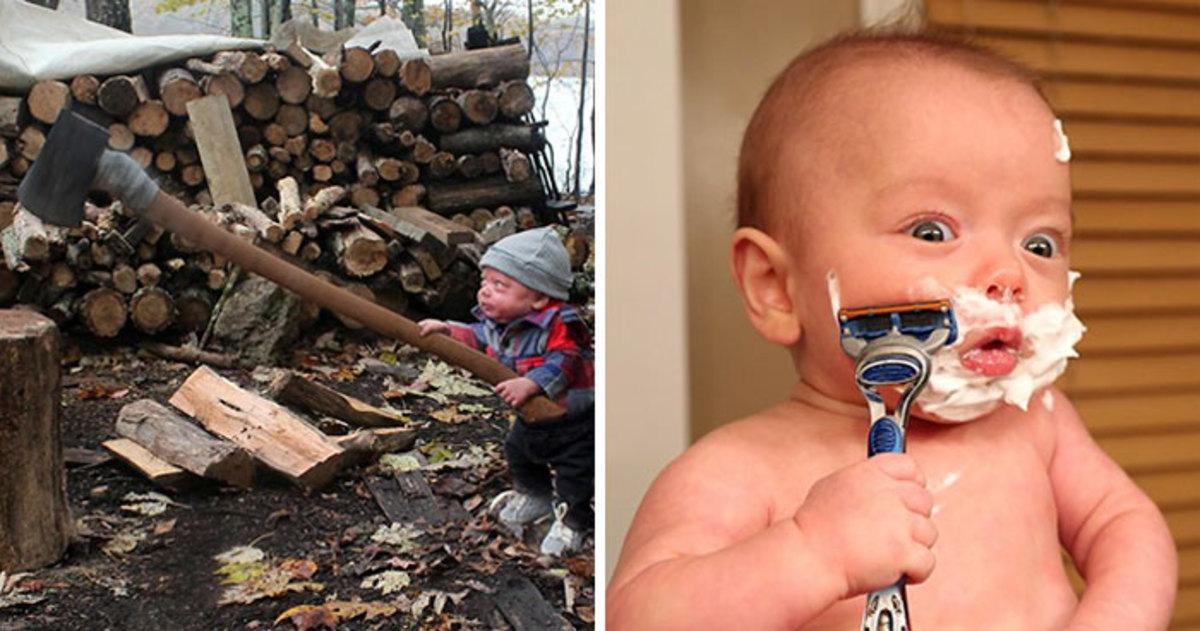 Папа создал эпичные фото крошки-сына за настоящими мужскими занятиями