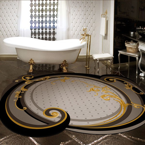оригинальный ковёр на полу в роскошной ванной