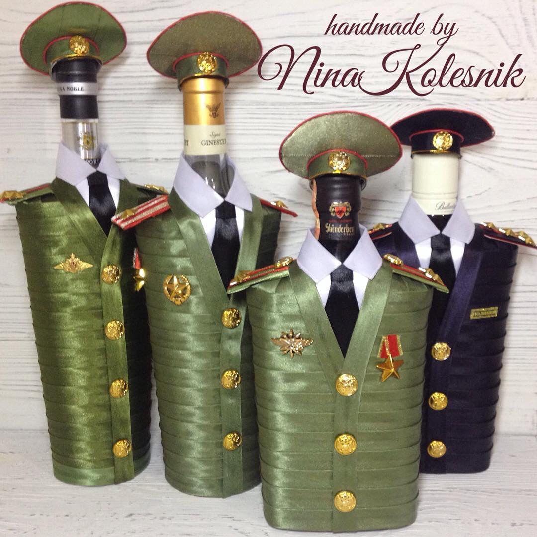 Подарочное оформление бутылок ручной работы. Ярмарка Мастеров - ручная работа. Купить Подарок на 23 Оформление подарочных бутылок. Подарок военному мужчине. Handmade.
