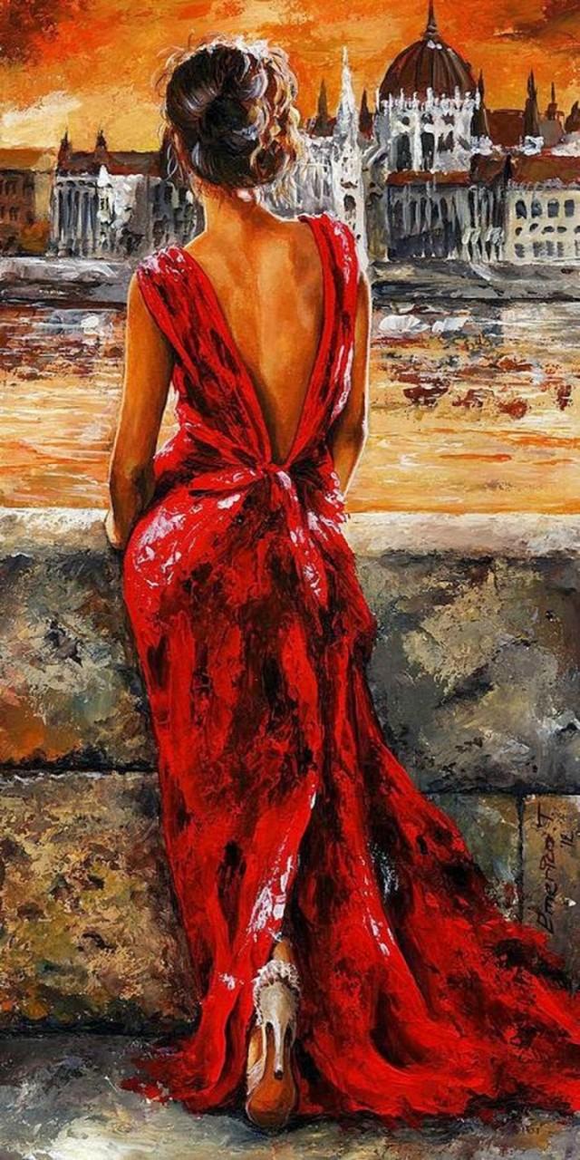 Lady in red от венгерского художника Имре Тота