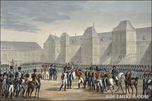 The abdication of Napoleon and his departure from Fontainebleau for Elba, 20th April 1814. The defeat at the Battle of Leipzig and the subsequent invasion of France by the Allies culminated in Napoleon's abdication on 11 April. By the Treaty of Fontainebleau he was exiled and granted sovereignty of the island of Elba.