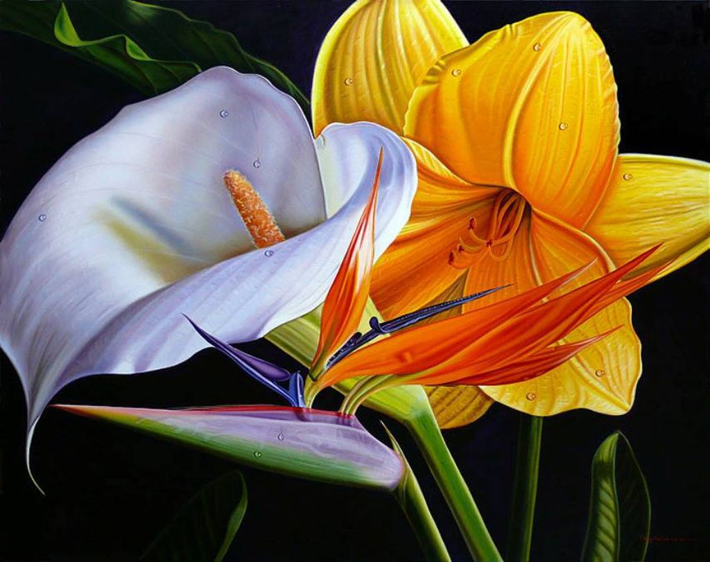 Цветы в работах художника Эллери Гутьеррес (Ellery Gutierrez)
