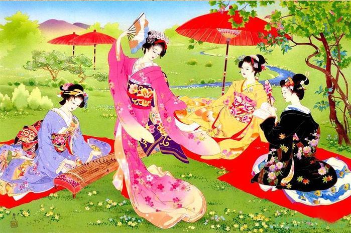 Японские гейши-юдзе кисти художницы Haruyo Morita