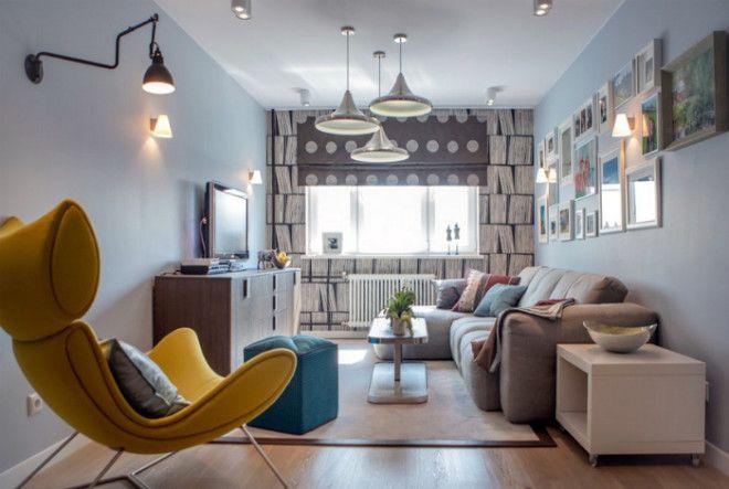 Уютная гостиная в стиле эклектика