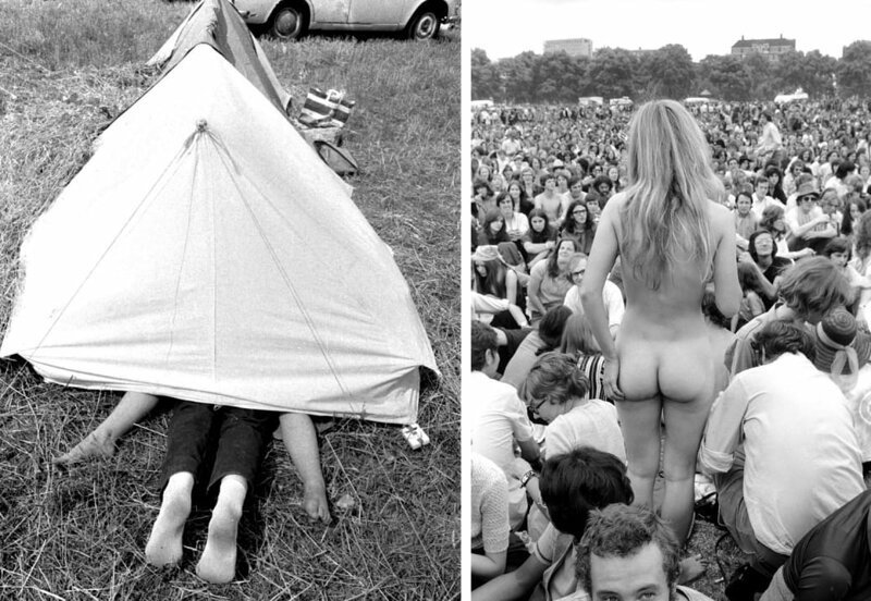 Слева: пара предается свободной любви в палатке, фестиваль Isle of Wight, 1969 год. Справа: обнаженная женщина на концерте в Гайд-парке, 1970 год. интересное/. фотографии, история, хиппи